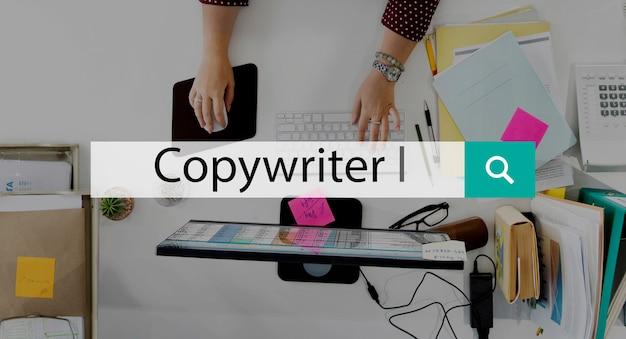 Editor copywriter publicação publish concept