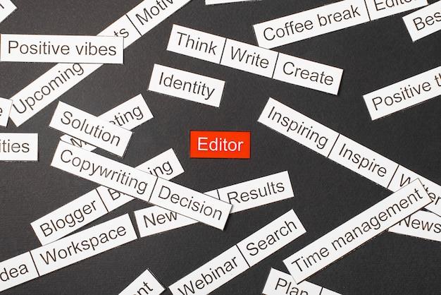 Editor de palavras cercado por outras palavras