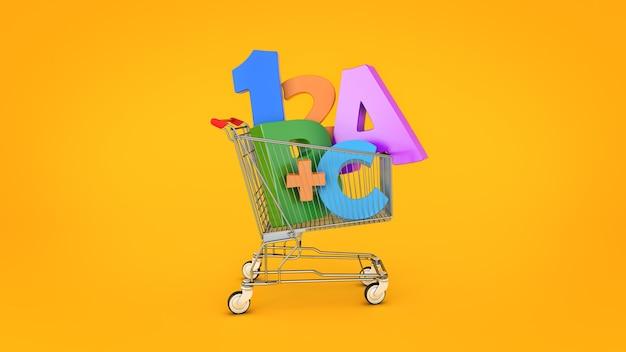 Educação, compras, renderização em 3d