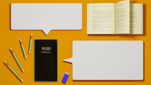 Educação digital online. 3d do celular, livro sobre aprendizagem no telefone, computador. conceito de distância social. rede de internet online do classroom.