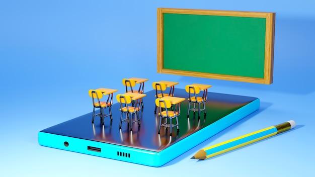 Educação digital online. 3d do celular sobre aprendizagem no telefone, computador. conceito de distância social. rede de internet online do classroom.