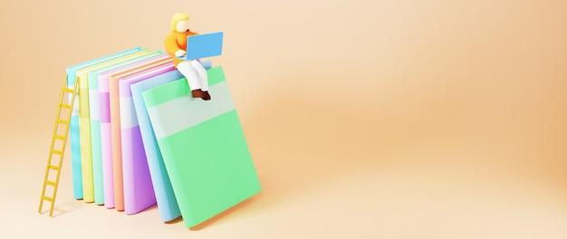 Educação digital online. 3d do livro colorido e a mulher jogam caderno sobre a aprendizagem no telefone, computador. conceito de distância social. rede de internet online do classroom.
