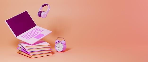 Educação digital online. renderização 3d do caderno mínimo em livros na parede laranja.