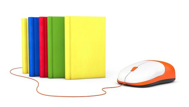 Educação na internet. livros e mouse de computador em um fundo branco