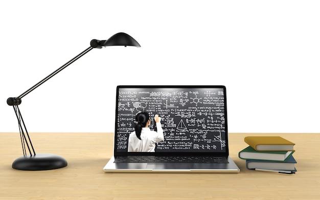 Educação on-line com professor em notebook de renderização 3d