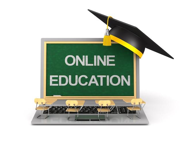 Educação online em fundo branco. ilustração 3d isolada
