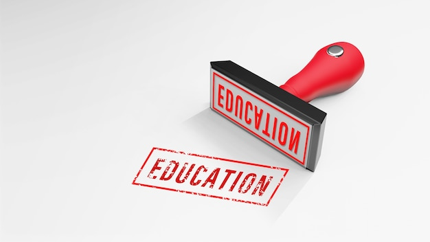 Education rubber stamp 3d render