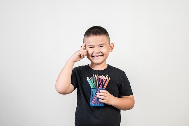 Educatoin, menino, sorrindo, em, tiro estúdio