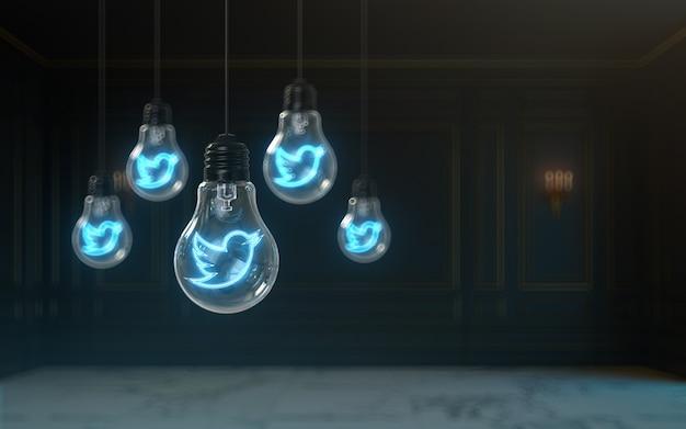 Efeito de brilho do ícone do twitter dentro da lâmpada renderização 3d fundo de capa premium para banner social