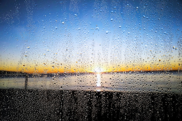 Efeito de chuva no fundo por do sol