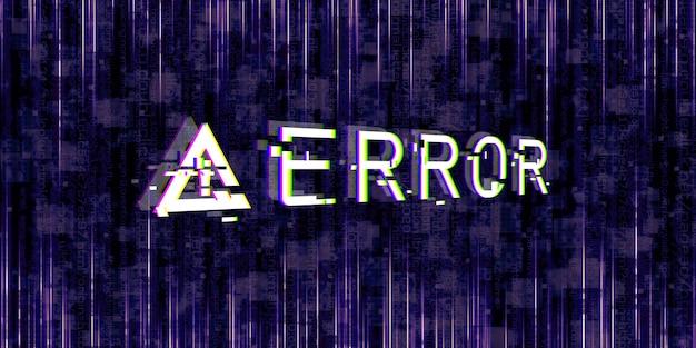 Efeito de falha símbolos de perigo do computador erros hackeados ideias de design cyberpunk pixels digitais