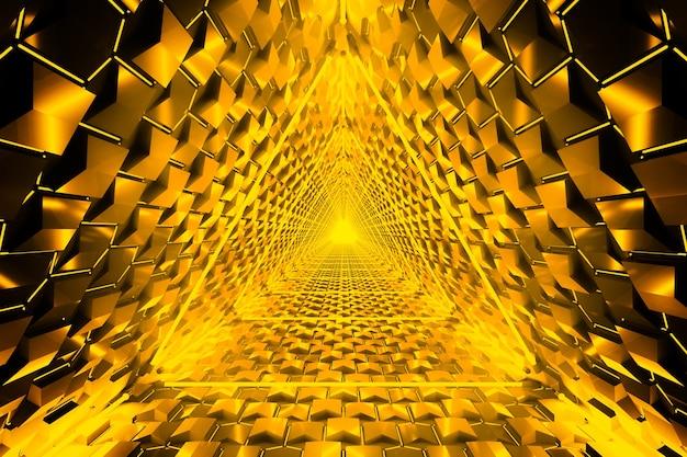 Efeito de luz de triângulo de néon dourado com linhas brilhantes