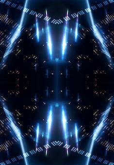 Efeito de luz, fundo desfocado, reflexos de néon no chão de concreto. fundo abstrato escuro