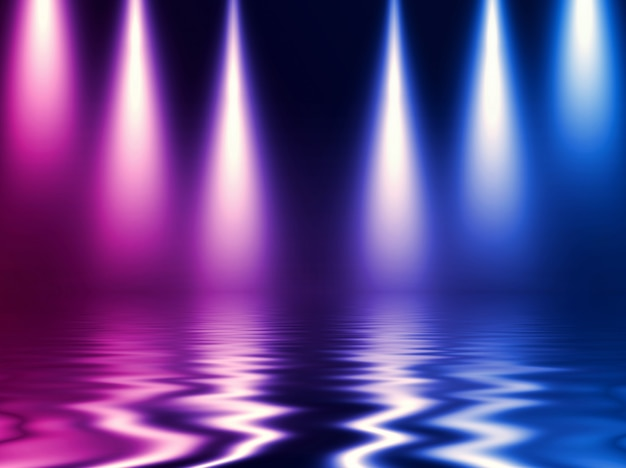 Efeito de luz neon, ondas de energia em um fundo escuro e abstrato.