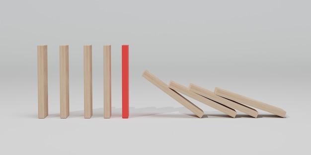 Efeito de madeira vermelho interrompido por uma peça única e forte isolada. ilustração 3d, renderização em 3d.