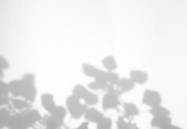 Efeito de sobreposição de sombra natural de folhas realistas no fundo de textura branca com espaço de cópia, para sobreposição na apresentação do produto, pano de fundo e maquete