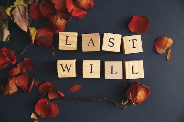 Efeito retrô salpicado no conceito de foto última vontade e testamento
