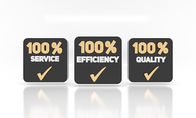 Eficiência de serviço e etiquetas de qualidade etiquetas de conceito de marketing comercial para empresas ou negócios