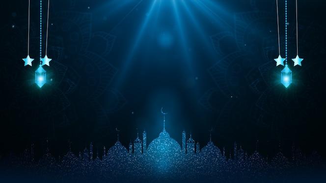 Eid al adha mubarak e lanternas tradicionais