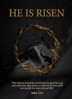 Ele está ressuscitado. páscoa poster design jesus cristo coroa de espinhos pregos e martelo símbolo da ressurreição renderização 3d