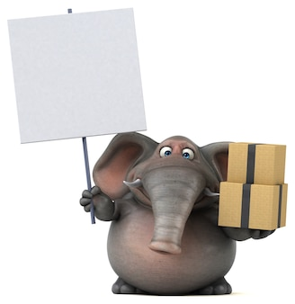 Elefante divertido - ilustração 3d