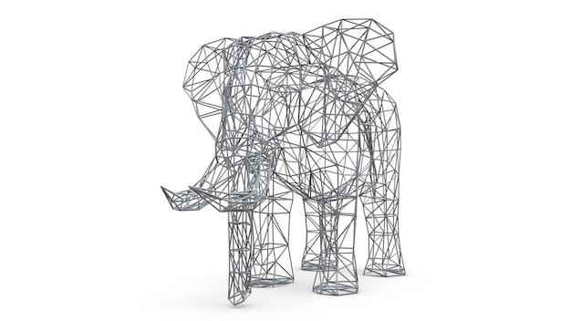 Elefante em um fundo branco. ilustração 3d de baixo polígono.