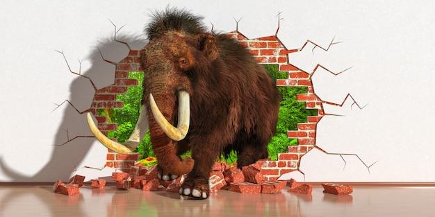Elefante emergindo de uma falha na parede, ilustração 3d
