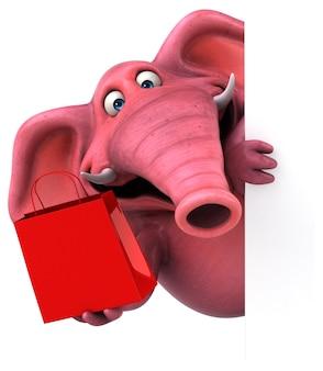 Elefante rosa - ilustração 3d