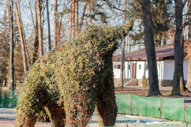 Elefante verde de plantas verdes, arbustos aparados em forma de elefante
