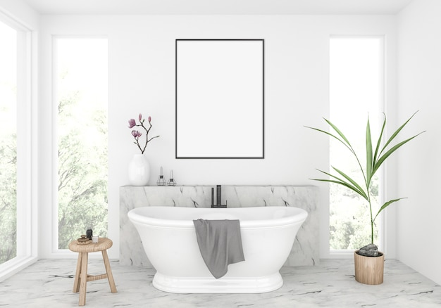 Elegante casa de banho, maquete quadro vertical, exibição de obras de arte