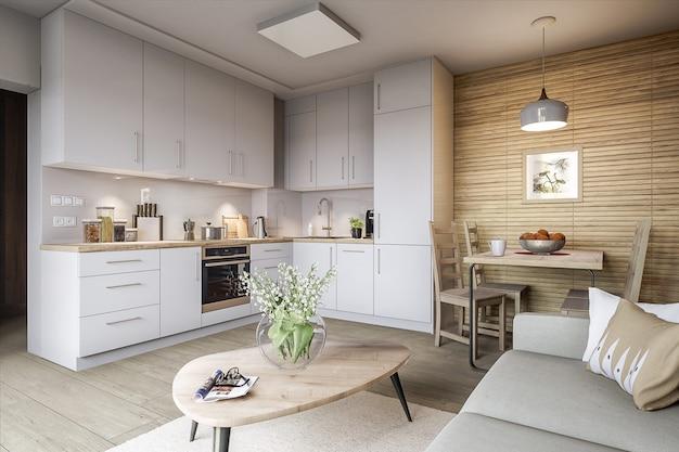Elegante cozinha e sala de estar