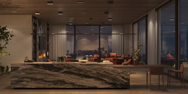 Elegante e luxuosa sala de estar aberta, cozinha e sala de jantar com iluminação noturna, ilha de mármore, piso de pedra, teto de madeira. janelas com vista para o céu noturno. interior de ilustração de renderização 3d.