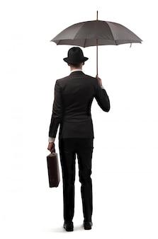 Elegante, homem negócios, com, um, guarda-chuva