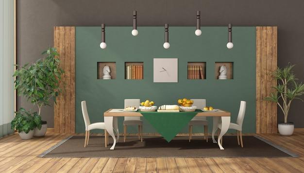 Elegante sala de jantar com mesa e cadeira