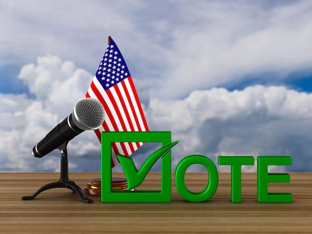 Eleição nos eua, microfone e bandeira