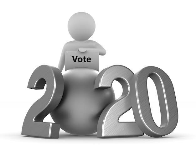 Eleições de 2020 no espaço em branco. ilustração 3d isolada