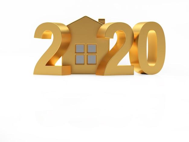 Elemento 3d casa dourada e número 2020