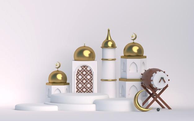 Elemento branco dourado com fundo do pódio 3d islâmico