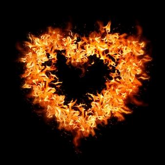 Elemento de chama de coração, design criativo laranja