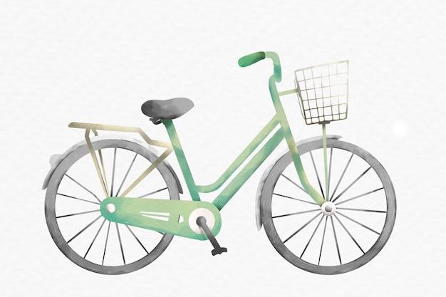 Elemento de desenho aquarela verde bicicleta