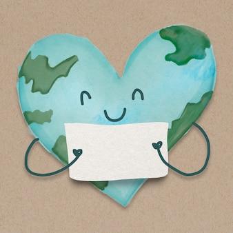 Elemento de design de terra em forma de coração