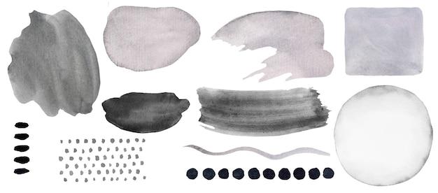 Elementos abstratos pintados em aquarela cinza. ilustração de conjunto de impressão moderna desenhada à mão