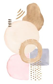 Elementos abstratos pintados em aquarela pastel em bege. ilustração de conjunto de impressão moderna desenhada à mão