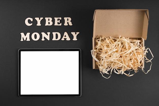 Elementos cibernéticos de segunda-feira plana com texto