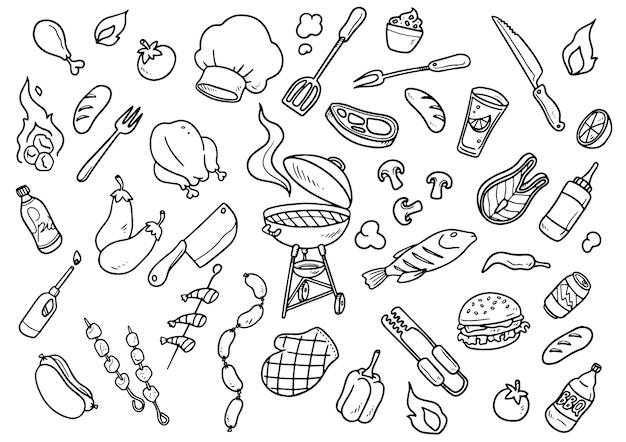 Elementos de churrasco desenhados à mão