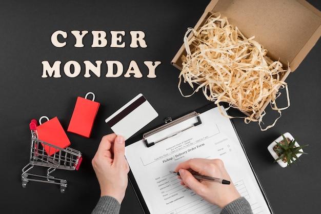 Elementos de cyber monday com texto