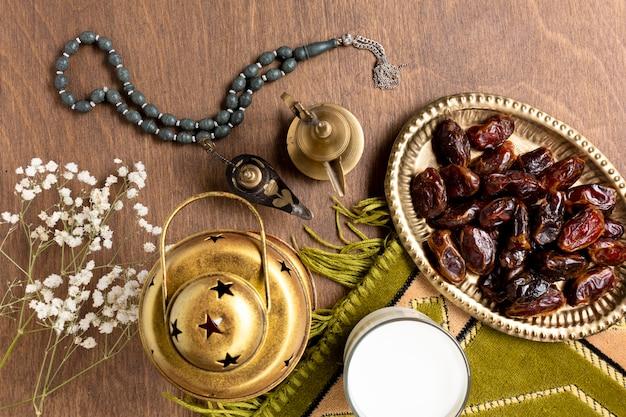 Elementos de decoração islâmica de vista superior