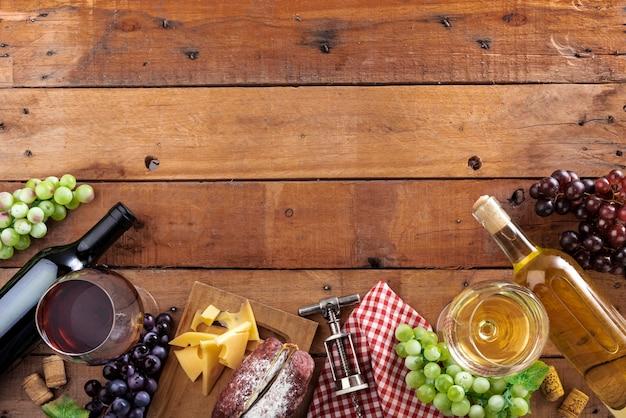 Elementos de degustação de vinhos de vista superior