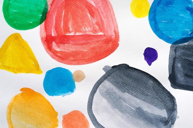 Elementos de design de forma de círculo pintados à mão em aquarela. conjunto de pontos em aquarela multicoloridos. coleção de pincel em aquarela. fechar-se.
