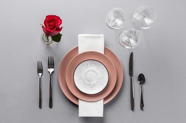 Elementos de etiqueta de mesa plana